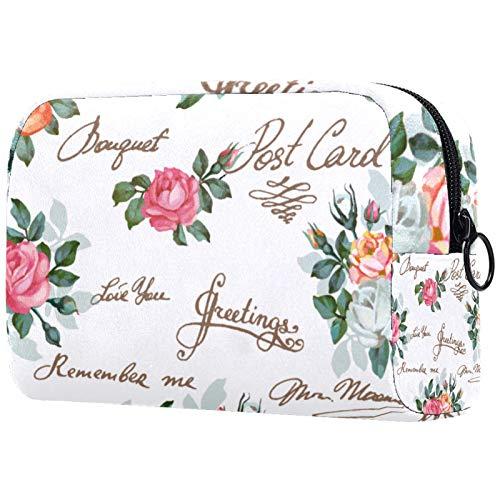 Bolsas de cosméticos para Mujeres, Bolsas de Maquillaje, neceseres espaciosos, Accesorios de Viaje, Regalos, Arte de Rosas de Colores primaverales, Regalo para el día de la Madre