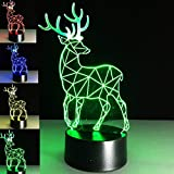 SUPERNIUDB 3D Creative Deer Visual 3D Night Light 7 Color Change LED Table Lamp Xmas Toy Gift