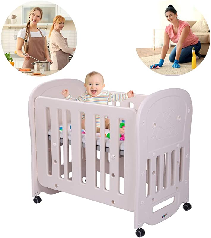 JOYMOR 4 In 1 Baby BPA Free Mini Crib 2 Crib Mattress Easily Converts To Toddler Bed Playard Or Rocking Crib Portable And Easy Assembly Cream Grey