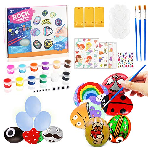 Yojoloin Rock Painting Arts and Crafts for Kids Adults,Creative Activities for Kids Age 5-12,Painting Supplies Set for Boys Girls,Decorative Stones for Garden Outdoor,Acrylic Paint & Brushes(51pcs)