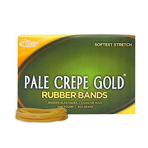 """Alliance Rubber 20335 Pale Crepe Gold Rubber Bands Size #33, 1 lb Box Contains Approx. 970 Bands (3 1/2"""" x 1/8"""", Golden Crepe)"""
