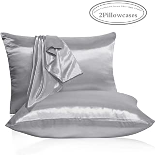 Leccod 2 Pack Shinny Silk Pillowcase with Hidden Zipper, Super Soft and Luxury Satin Pillow Cases Covers for Hair and Skin(Silver Gray, Standard : 20x26)