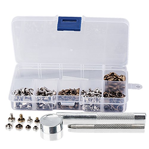 DROK 120 Sets Dual Caps Copper Rivets, 2-Color 6mm 8mm Leather Rivets Kit, Tubular Brass Buttons Metal Studs Snap with Setter Base Punch Fixing Tools for Homemade DIY Leather Craft Repair Decoration