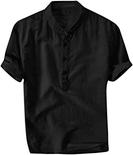 Camisas de Hombre con Botones Manga Corta Cuello Alto Fresco y Transpirable de Verano Tops Slim Fit Camisa de Verano Prima...