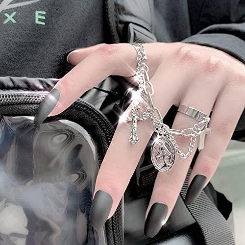 miaoyu Pulsera de dedo Corea de la moda personalidad punk Jesús Cruz ajustable Hip Hop largo borla cadena articulada dedo anillos para mujeres hombres fiesta joyería