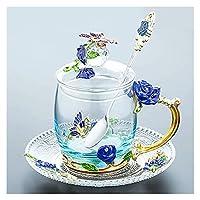 ZHANGZHI 艶をかけられたウォーターカップガラスカップセットホームフラワーティーコーヒーカップクリスタルビールカップハンドルテーブルウェディングギフト (Colore : M)