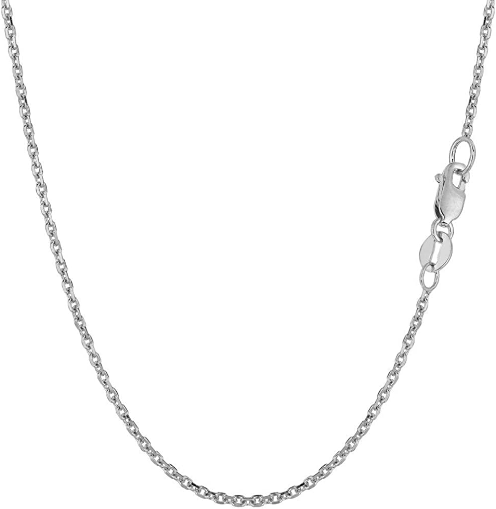 14k SOLID Yellow or White Gold 1.5mm Shiny Diamond Cut Cable Link Chain Necklace for Pendants and Charms with Lobster-Claw Clasp (16