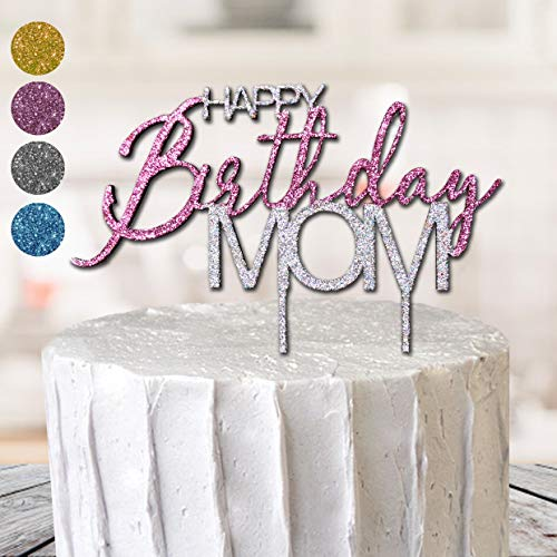 Happy Birthday Mum Mom Cake Topper 3D Best Glitter MDF Special Occasion Party Cupcake Decoration Gift Party 40 50 60 70 Gold Super (Silver & Pink)