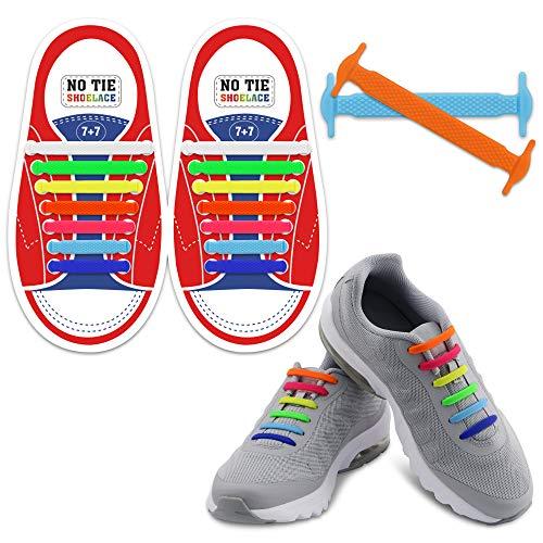 Homar sin corbata Cordones de zapatos para niños y adultos Impermeables cordones de zapatos de atletismo atlética de silicona elástico plano con multicolor de los zapatos del tablero Sneaker boots (Kid Size Mix Color)
