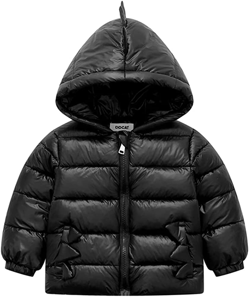 WXHCOS Children's Boys And Girls Winter Down Padded Jacket With Hooded Light Style Dinosaur Jacket