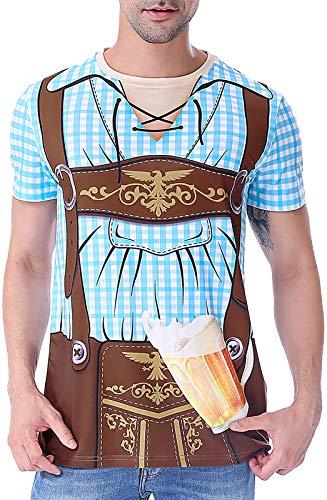 Funny World Mens Bavarian Oktoberfest Costume T-Shirts Plus Size, 4X-Large, Blue
