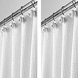 mDesign 2er-Set Luxus Duschvorhang aus Baumwollmischgewebe - cooler Duschvorhang mit Waffelmuster - leicht zu pflegener Badewannenvorhang - weiß