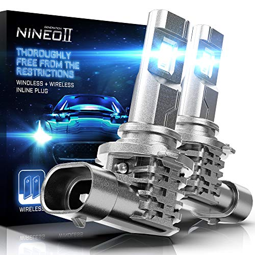 NINEO Fanless 9005 LED Bulbs | Wireless Hb3 All-in-One Conversion Kit | CREE Chips 6500K Cool White Fog Light