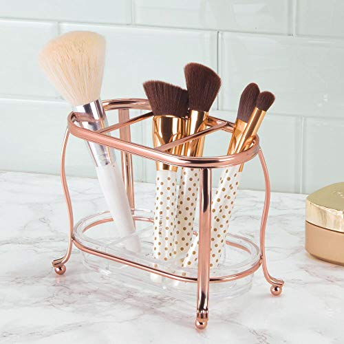 mDesign Decorative Makeup Brush Storage Organizer Tray Stand for Bathroom Vanity Counter Tops, Dressing Tables, Cosmetic Stations - 3 Sections with Removable Bottom Tray - Rose Gold/Clear