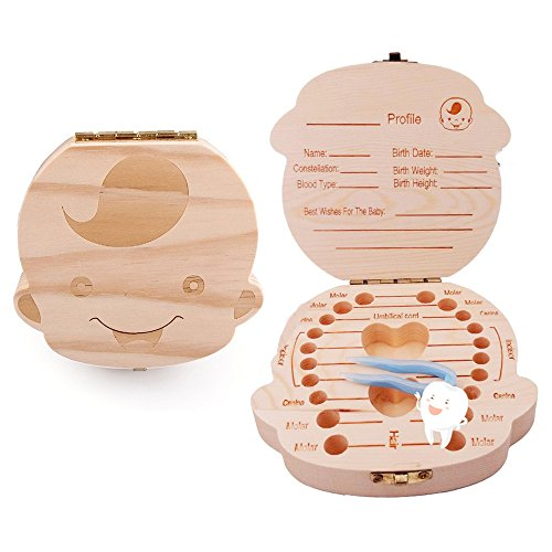 Willway Baby Teeth Box Keepsake Organizer Wooden Boxes Personality Deciduous Souvenir Box (English, for boy)