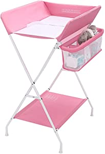 ZAQI Lightweight Changing Table Nursery Boys Infants Baby Folding Diaper Station with Safety Straps  Easy Clean  Blue Gray Pink  Color Pink