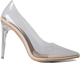 Azalea Wang Transparent Clear Cinderella See Through Pointed Toe Sexy High Heel Pumps Wedding Dress Shoes