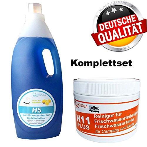Hedola H11+ Frischwassertankreiniger 500g u. H5 Sanitärflüssigkeit 2L