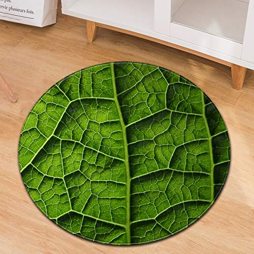 Non-Slip Wear-Resistant Round Carpet Green Leaf Pattern Household Mat Washable Office Mat