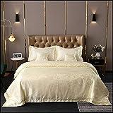 MAS International LTD Royal Premium Range wendbares 5-teiliges Set aus modernen Jacquard-Satin-Seide, bestickt, Hotelqualität, Tagesdecke mit Kissenbezügen & Kissenbezügen – Pearl – Tagesdecke