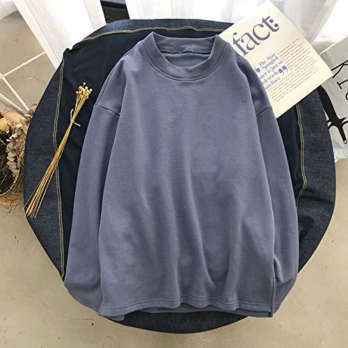 T Shirts Manches Longues,Les Hommes De Couleur Pure Style Hong Kong Casual Col Rond Bleu Marine Sauvage,Tee Shirt De Sport Quick-Drying Respirant Vêtements d'affaires Chandail Tricoté Veste Stretch