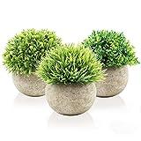 Aibesser Künstliche Topfpflanze, Künstliche Grün Gras Pflanzen mit Topf, 3er-Set Plastik Klein...