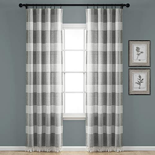 "Lush Decor, Gray Tucker Stripe Yarn Dyed Cotton Knotted Tassel Window Curtain Panel Pair, 84"" x 40"""
