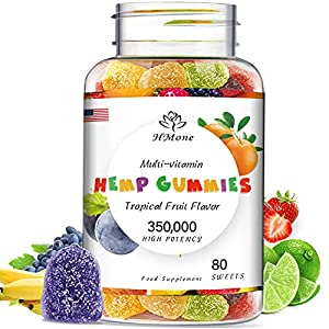 Hemp Gummies - 350,000mg Extra Strength, 80ct - Dietary Supplement - for Immune Support - 100% Natural, Vegan, Non-GMO, Gluten-Free
