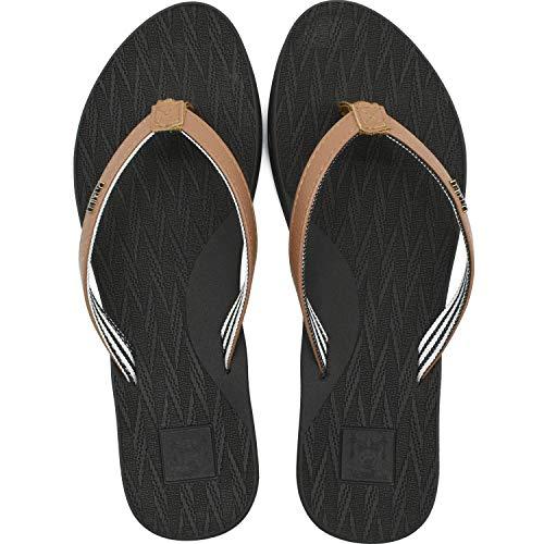 KuaiLu Damen Flip Flops Ultraleicht Leder Stoff Zehentrenner Bequeme Yoga Matte Fußbett Badeschuhe Sommer Strand Badeurlaub Sandalen Braun 39