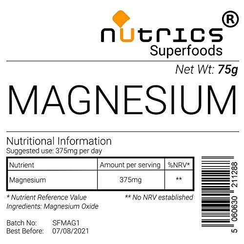 Nutrics 100% Pure Elemental Magnesium Pharmaceutical Grade Powder 75g - Nutrics Superfoods