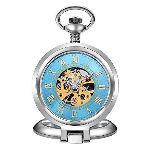 Reloj de bolsillo elegante clásico.Relojes de bolsillo con cadena para hombre, vintage Claamshell Números romanos mecánicos como Día del Padre / Regalo de Elder / Aniversario / Navidad Relojes para ho