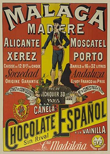 Vintage bieren, wijnen en sterke drank 'Malaga Madere', Spanje. 1910, 250gsm Zacht-Satijn Laagglans Reproductie A3 Poster