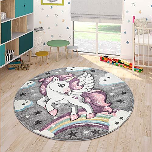 Paco Home Kinderteppich Bunt Grau Kinderzimmer Regenbogen Design Einhorn Motiv 3-D Look, Grösse:120x170 cm