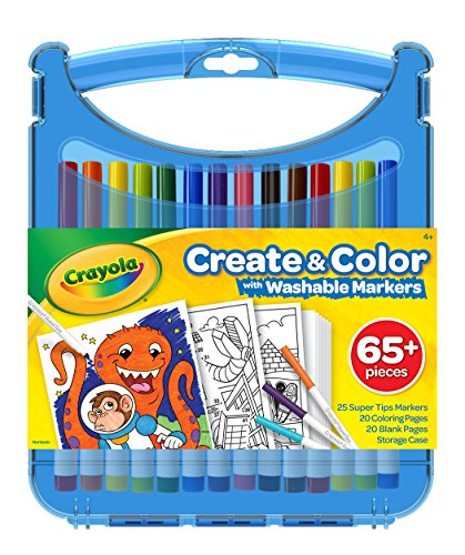 Crayola 04-0377 Create & Color Super Tips Kit SuperTips Washable Markers, Assorted