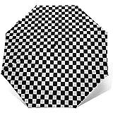 Paraguas de Viaje de Apertura automática de Cierre Triple, Tablero de ajedrez de calibración A Prueba de Viento Paraguas Plegable Resistente al Agua Impresión de Pared Exterior Sombrilla de Sol