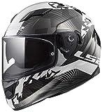 LS2 FF320 Stream EVO Hype Doppel Sonnenblende Full Face Motorradhelm Integralhelme - Schwarz Weiß Titan L(59-60cm)