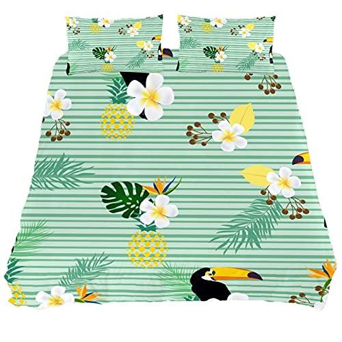 Set copripiumino per letto singolo, motivo a righe, verde, set di biancheria da letto con 1 copripiumino e 1 federa.