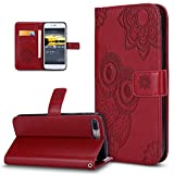 iPhone 8 Plus Case,iPhone 7 Plus Case,3D Relief Embossed Henna Mandala Floral Owl PU Leather Fold Flip Wallet Cover Stand Card Slots Protective Case Cover for iPhone 7 Plus/iPhone 8 Plus,Red