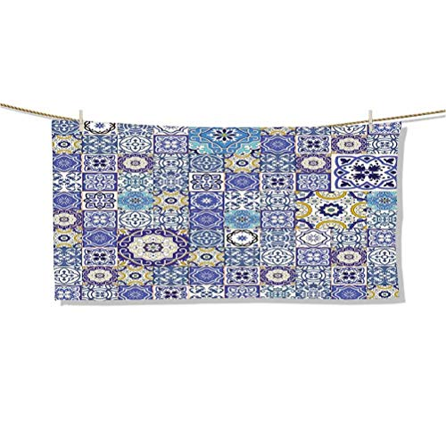 Microfiber Sand Free Towel, Beach Towels, Cool Pool Towel Rich Collection of Moroccan Tiles Patchwork Style Pattern Oriental Arabesque W27' x L16' for Swimmers,Bath Towels for Kids & Adults,Pool,Water