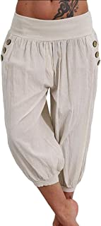 WSPLYSPJY Womens Casual Trousers High Waist Capri Pants Baggy Aladdin Pants Light Blue Medium