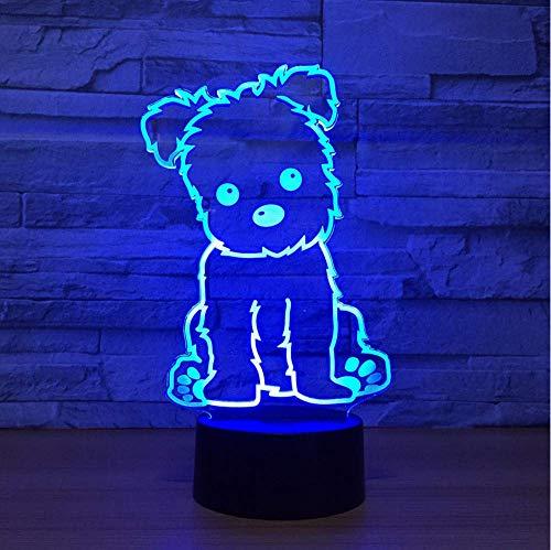 Belle lampe de compagnie chien 3D lampe LED Night Light Illusion lampe de nuit USB Table Lampe de bureau Éclairage À La Maison Couleur Changeante lampe d'ambiance