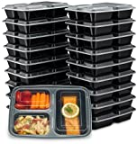 EZ Prepa [20 Pack] 32oz 3 Compartment Meal Prep Containers with Lids - Bento Box - Durable BPA Free...