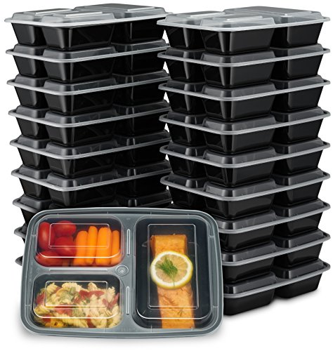 EZ Prepa [20 Pack] 32oz 3 Compartment Meal Prep Containers with Lids - Bento Box - Durable BPA...