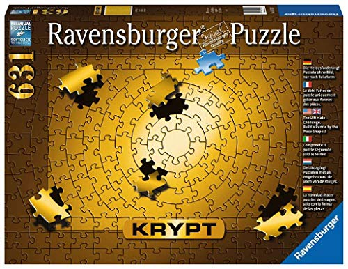 Ravensburger 15152 Krypt Puzzle, Schweres Puzzle für Erwachsene und Kinder ab 14 Jahren, Gold, 631 Teile: Die Herausforderung! Puzzeln ohne Bild, nur nach Teileform