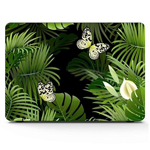 Mac book Pro Case Banner Tropical Plants Butterflies On Black Mac book Pro 15'(NO CD-ROM,with Retina Display) A1398 Plastic Case Keyboard Cover & Screen Protector & Keyboard Cleaning Brush