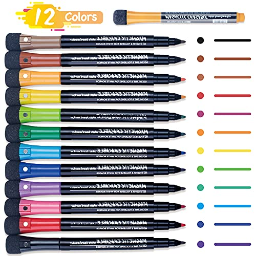 Magnetic Dry Erase Marker Pen: 12 Pack Fine Tip Erasable White Board Markers Pens Set with Eraser Cap, Low Odor Whiteboard Marker Sets for Kids, School, Office, Home Work On Whiteboard Calendar Fridge