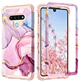 PIXIU Compatible with LG Stylo 6 case, Heavy Duty 3 Layer Shockproof Full-Body Protective Hard Phone Cover Case for LG Stylo 6 2020 Release Marble (T26)