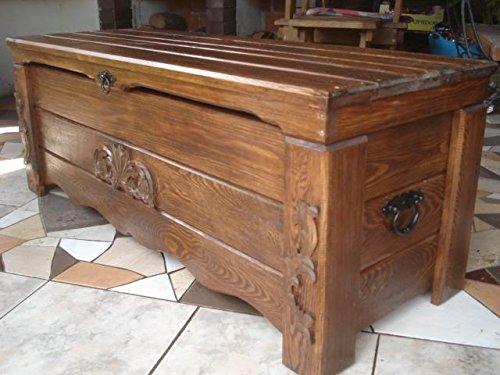 massive handgemachte Holzkiste Truhe Box Holz Aufbewahrung Antik Dekoration BT4
