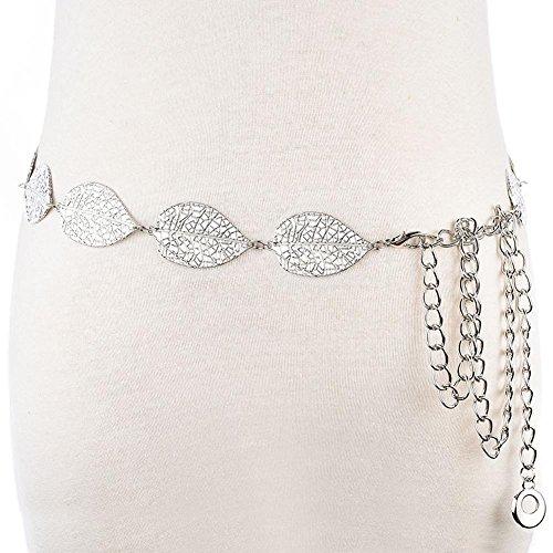 SZH&BELT Metall Blätter Bauchkette Frauen-Kleid-Zubehör Gürtel , silver
