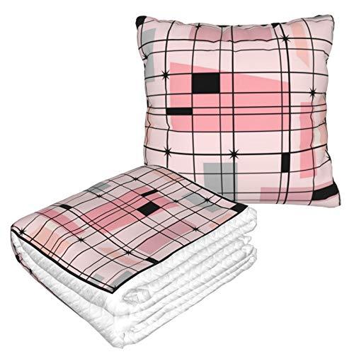 Manta de viaje y almohada premium suave 2 en 1 de avión, diseño retro de rejilla rosa y estrellas con funda de almohada suave, para sofá, camping, coche, viajes